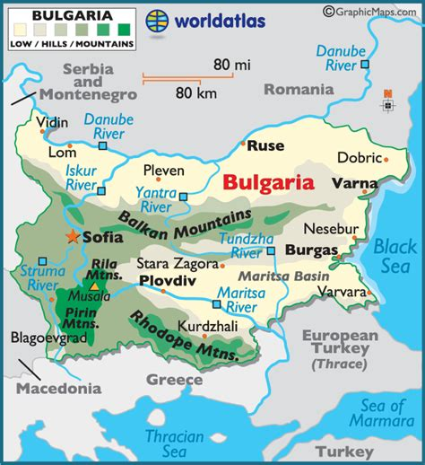 bulgaria large color map