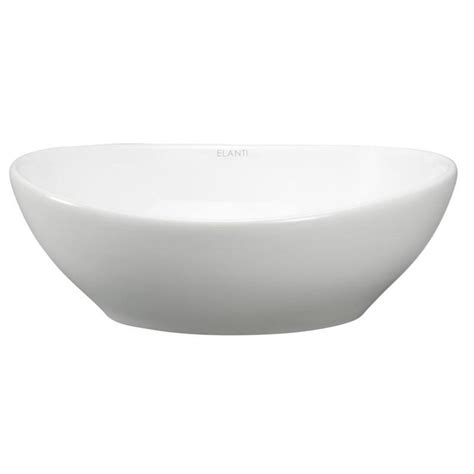Elanti Oval Vessel Bathroom Sink In White Ec9838 The Vessel Kitchen Sink