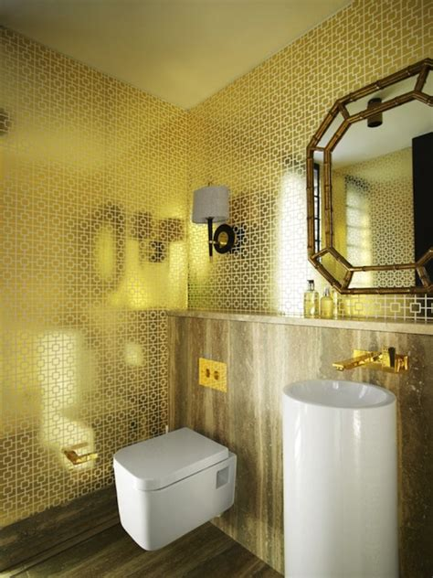 gold bathroom ideas metallic wallpaper modern bathroom greg natale