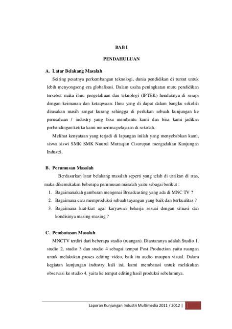 format laporan kunjungan lapangan contoh laporan kunjungan industri