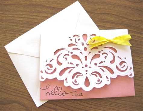 Handmade Note Cards - handmade note card scalloped embossed pastel pink