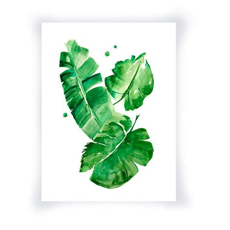 printable leaf art banana leaves watercolor print green wall art home decor