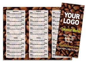 coffee menu template restaurant menu printing palmetto bradenton sarasota