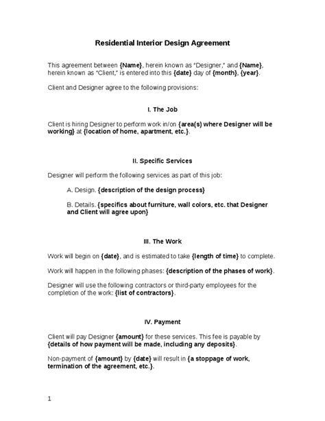Sle Letter Of Agreement For Interior Design Residential Interior Design Agreement Hashdoc