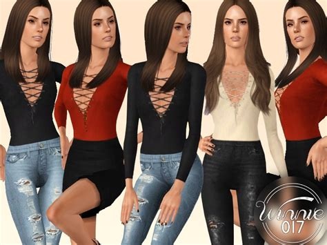 lace shirt the sims 4 winnie017 s lace up long sleeved top