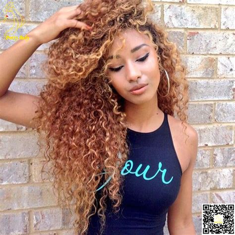Long Curly Honey Blonde Crochet Hair For Black Woman   honey blonde full lace human hair wigs virgin brazilian