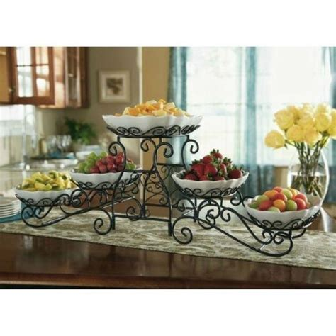 triple tiered gourmet buffet server with 5 scallop servers