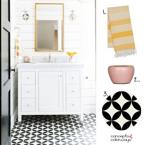 Yellow And White Bathrooms by A Black And White Bathroom With Pink And Yellow Accents