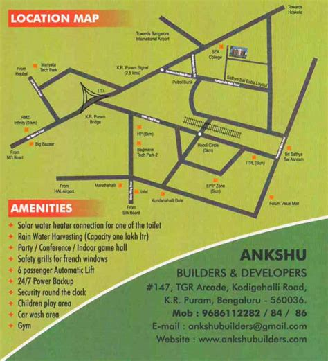 Flat Floor Plan by Location Map Ankshu Platina At K R Puram Bangalore