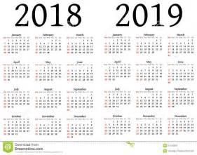 Calendar 2018 Ka Kalender F 252 R 2018 Und 2019 Stock Abbildung Bild 51242903