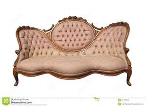 Wooden Carved Sofa Antique Luxury Pink Fabric Sofa Isolated Royalty Free