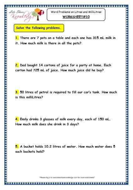 grade 3 maths worksheets 13 6 measurement of capacity
