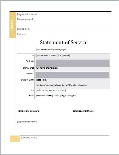 Statement Of Service Letter Templates by Ms Word Statement Of Service Template Document Templates
