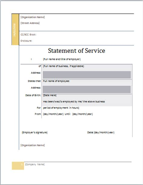 Statement Of Service Letter Exle Ms Word Statement Of Service Template Document Templates