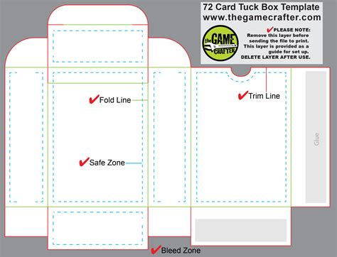 template for a deck of card box tuck box 72 cards