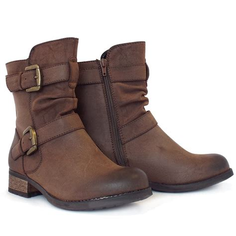 Lotus Avon Low Block Heel Biker Boots In Brown Mozimo
