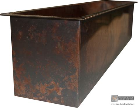 burnished copper planters custom fabricated modern
