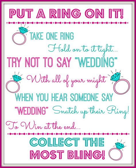printable bridal shower ring game put a ring on it bridal shower game bachelorette by