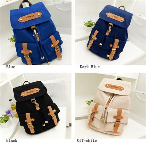 Korean Simply Fashion Bag Broken White korean style fashion canvas backpack rucksack