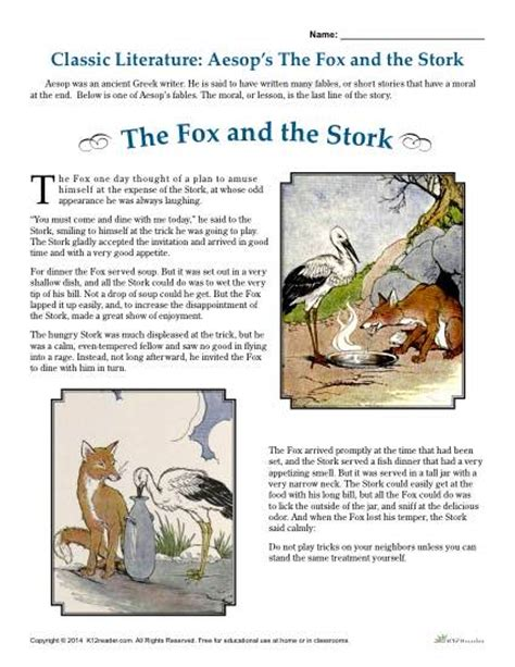 Fables Comprehension Worksheets by Aesop S The Fox And The Stork Literature Comprehension