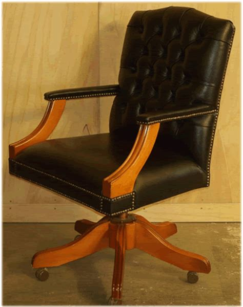 Plain Black Desk by Gainsborough Swivel Desk Chair In Black Leather Yew With