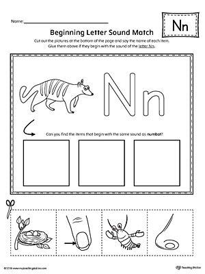 letter n worksheets letter n beginning sound picture match worksheet 1374