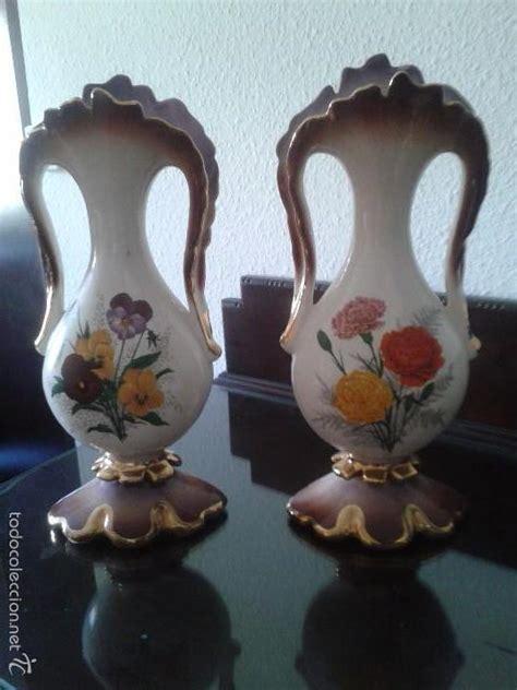 floreros antiguos de porcelana pareja de jarrones de cer 225 mica o porcelana espa comprar