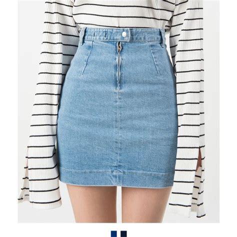 Denim Pencil Mini Skirt patch pocket high waist denim mini skirt liked on polyvore