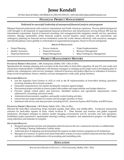 sle entry level project manager resume director of finance resume
