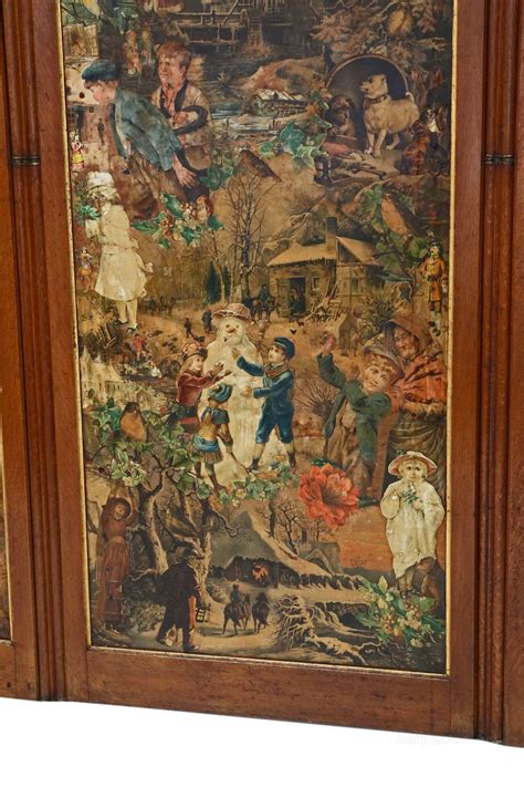 antique decoupage c1880 oak decoupage dressing screen antiques atlas