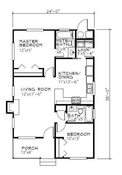 2br House Plans 24 X38 838 Sq Ft 2br 2bath Laundry Room Works As Floor Of Two Story House Tiny