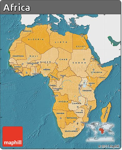 africa map sea free political shades map of africa single color outside
