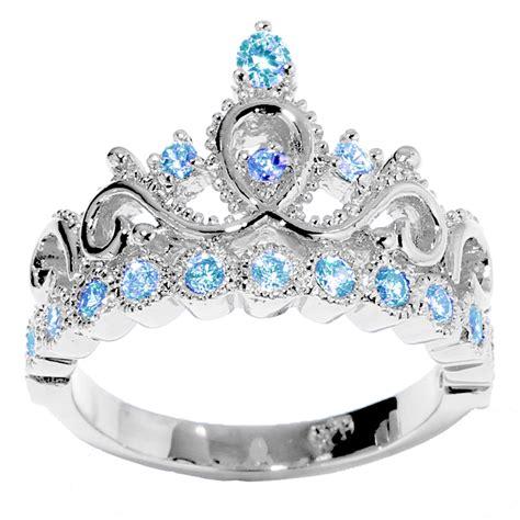 december birthstone 14k gold princess crown blue topaz birthstone ring