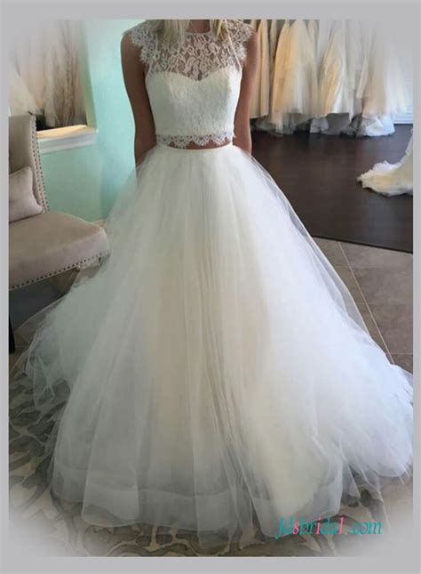 Wedding Dresses Skirt by Two Pieces Wedding Dresses Separated Tulle Lace Wedding Skirts