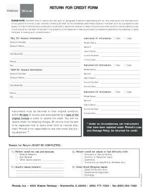 Credit Return Form Fillable Return For Credit Form Phonak Fax Email Print Pdffiller