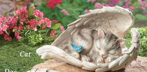 new pet memorial garden wings statue cat or