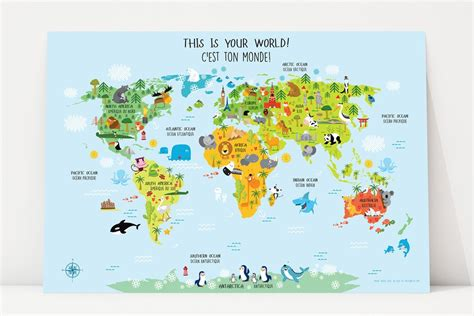 printable world map in french bilingual world map poster for kids in english french