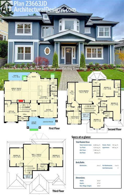 house plans with room plan 23663jd 6 bedroom with third floor room