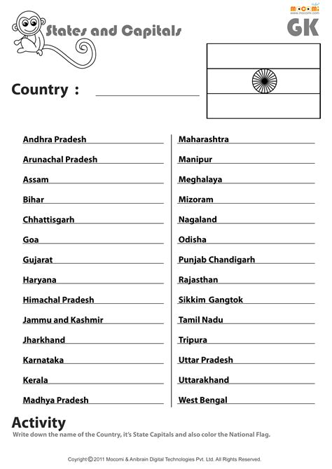 States And Capitals Worksheets by Indian States And Their Capitals Worksheets For