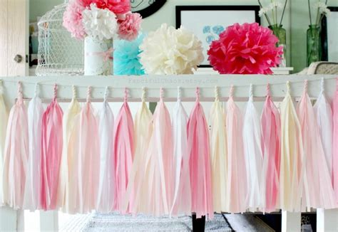 Pink And White Baby Shower Decorations by Pink White And Tissue Paper Tassel Garland Wedding