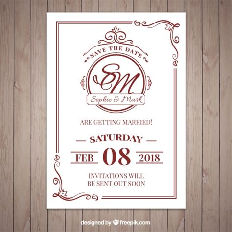 Wedding Invitation Freepik by Classic Style Wedding Invitation Vector Free