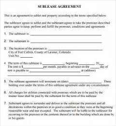 Commercial Sublease Agreement Template sublease contract template free ebook database