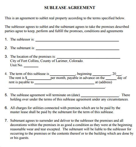 template for commercial lease agreement commercial lease agreement 7 free for pdf
