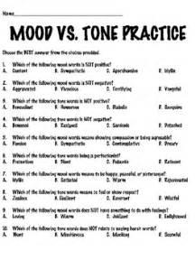 mood vs tone tutorial reading comprehension worksheet