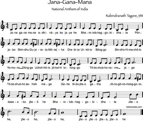 full jana gana mana lyrics in bengali jana gana mana beth s notes