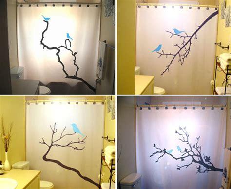 blue birds shower curtains tree branch bathroom decor