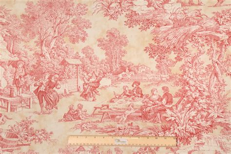 toile drapery fabric 1 75 yards toile drapery fabric in red