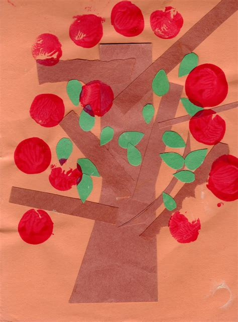 Kindergarten Paper Crafts - easy apple tree paper craft preschool education for