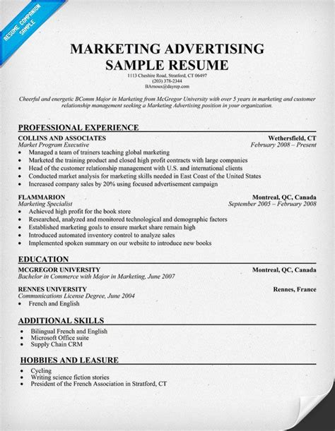 advertising resume exles marketing advertising resume template resume sles