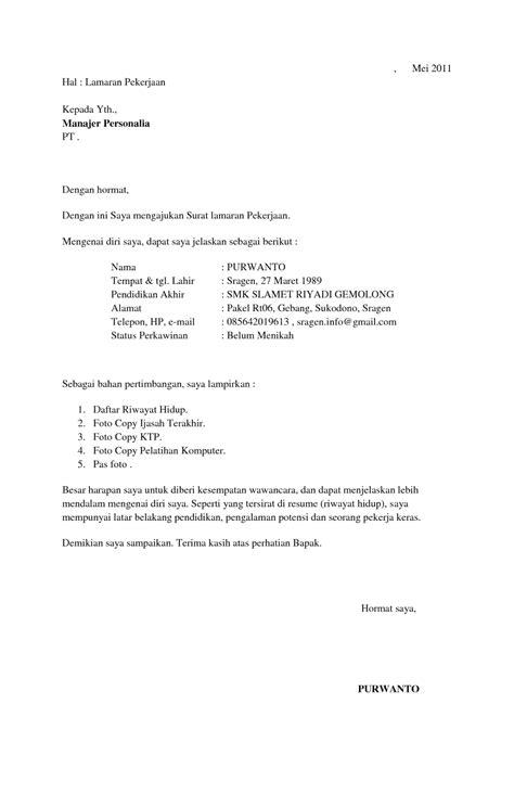 Format Surat Lamaran Kerja dan CV - ben jobs
